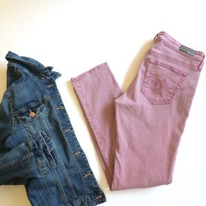 "AG ""Stevie"" slim straight ankle jeans (dusty rose)"